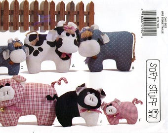 Butterick 3178 Craft Sewing Pattern for Calico Cows and Prairie Pigs - Uncut
