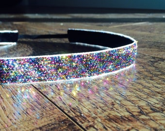 rainbow sparkle headband. rainbow glitter headband, running headband, hair accessory, girl's headband, women's headband, athletic headband