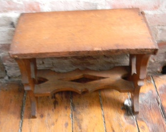 Vintage Antique Oak Stool / Bench