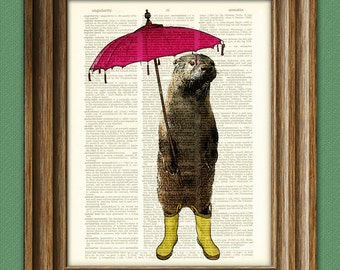 Rainy Day OTTER with Umbrella and yellow boots illustration beautifully upcycled dictionary page book art print
