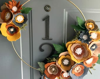 Felt Brass Hoop Floral Wreath Handmade Door Wall Decoration - Leather 12in