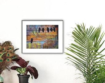 Bird Art Print, Birds on a Wire, 8X10, First Step is the Dream, Wall Decor, Optional Mat