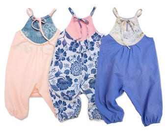Toddler Summer Halter Romper Baby Outfit Pink Romper Boho Chic Romper Girls Harem Romper Adjustable Baby Pants Romper Boho Baby Romper