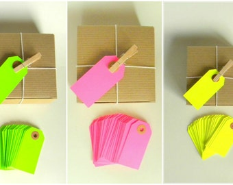 """25 Neon Gift Tags, 2 3/4"""" x 1-3/8"""", Pick Your Color: Pink, Yellow, Green, Hang Tags, With Kraft Reinforced Holes, Shipping Tag, No. 1,"""
