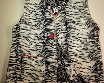 "Reversible vest ""Zebra"" swirly Flower """