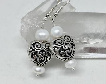 Wedding pearl earrings, white freshwater pearl earrings, bridal earrings, silver filigree heart earrings, freshwater pearl jewelry, June