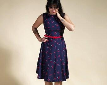 dress cherry, navy blue dress, cherry, sixties dress, seventies dress,