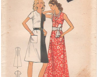 1970s - Butterick 6693 Vintage Sewing Pattern Size 12 Bust 34 Easy Dress Semi Fitted Slit Neckline Sleevelss Short Sleeve