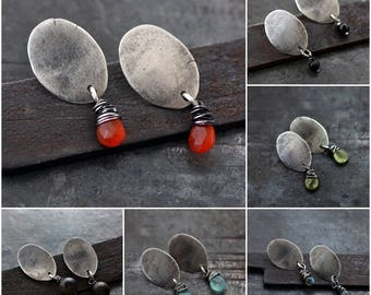 raw silver with carnelian stud earrings • 925 sterling silver • oxidised silver • simple everyday studs • gift for her