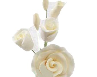 "Set of 3 - 3"" Ivory Rose Filler Medium Gumpaste"