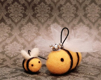 A Pair of Needle Felted Bees , Needle Felted Queen Bee, Felted Bumble Bee