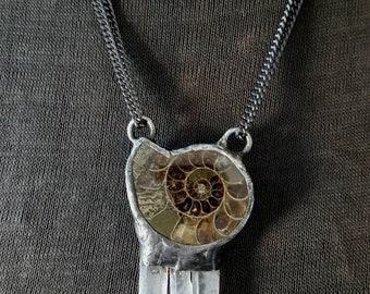 Fibonacci No 5 - Ammonite Fossil Necklace with Quartz Crystal Cluster
