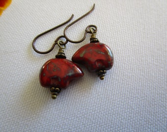 Little Red Bear *Sale* Czech Glass Earrings Pretty Short and Unique Earrings Southwestern Bear Earrings Hypoallergenic Niobium French Hooks