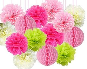 14pcs Pink Party Decaration Pom Poms Tissue Paper Flowers Mixed Paper Honeycomb Balls  for Birthday Party Baby Shower Wedding Party Supplies