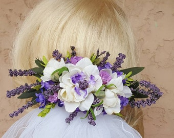 Statement Veil, Floral Headpiece,  Embroidered Edge Veil, Lavender Flower Hairpiece,      Wedding Veil Headpiece, 2 pc Set, Elbow 2 Tier