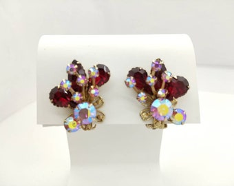 Red and Aurora Borealis Large Beau Jewels style clip earrings Art Deco