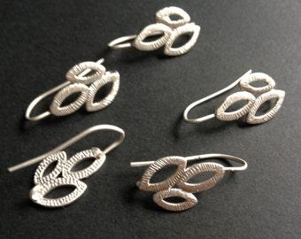 6 -  Three leaf matte rhodium brass hook earwire,earring finding, earring setting - lead, nickel and cadmium free