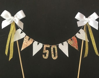 50th Golden Wedding Anniversary cake topper, cake bunting, cake banner, cake flags, white and gold fabric hearts with gold numbers