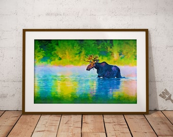 Moose Painting Print, Maine Moose Print, Colorful Moose Painting, Nature, Vacationland, Acadia National Park, Downeast Maine, Maine Moose