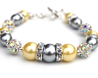 Silver and Yellow Pearl Bracelet, Bridesmaid Jewelry, Grey Yellow Wedding, Rhinestone and Pearl Bracelet