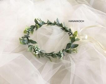 Flower Crown / Hair Vine Flower Crown / Floral Crown / Hair Vine / Flower Girls / Bridesmaids / Rustic Wedding / Leaf Flower Crown