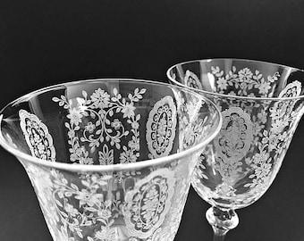 2 Elegant Etched Glass Goblets Tiffin Crystal Water / Wine Goblets Wedding Stemware