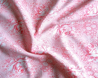 pink floral fabric french floral fabric vintage fabric patchwork fabric antique fabric  pink roses french fabric shabby chic 145