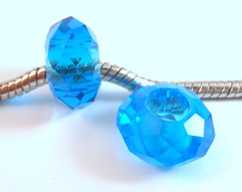 3 Beads - Bright Blue Glass Crystal European Bead Charm E0955