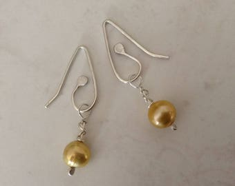 Contemporary Lemon Golden Yellow Freshwater Cultured Pearl Drop Silver Minimalist Artisan Earrings