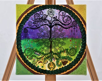"""30x30 cm """"Tree of Life"""" acrylic painting mandala canvas collection day and night Mandala Tales Art Collection"""