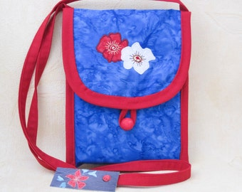 Small shoulder bag, floral purse, red and blue upcycled fabric bag, appliqued flowers, Kindle e-reader bag, great gift for girl, made in UK