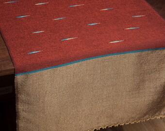 Table Runner Terracotta Blue & Gold OOAK