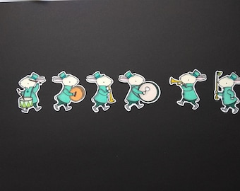 """Scrapbooking embellishment hand made, """"Rabbits in bands"""""""