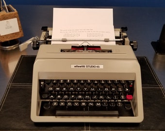 Cleaned & Serviced 1971 Olivetti Studio 45 Manual Typewriter with Case