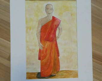 Buddhist monk Original Watercolor
