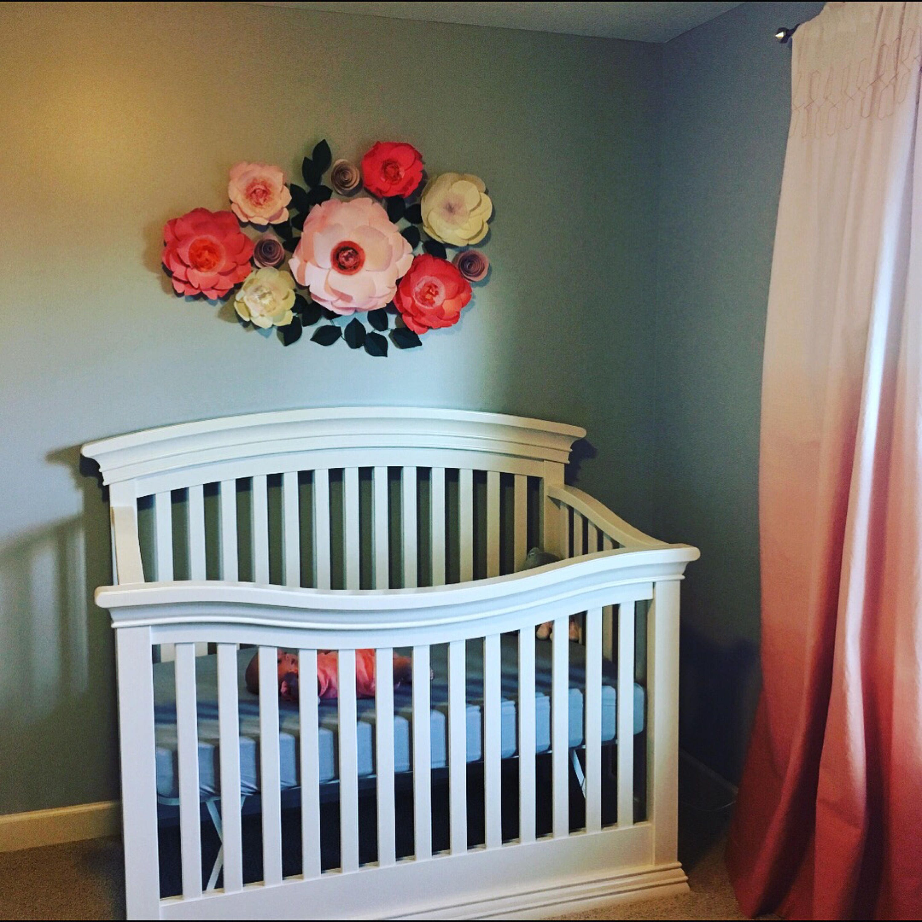 Paper flowers wall decor coral paper flowers above the crib decor