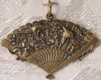 Large Fan with Cranes Bronze Pendant