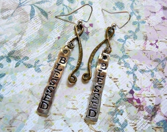 Silver and Brass Blessed Earrings (3617)