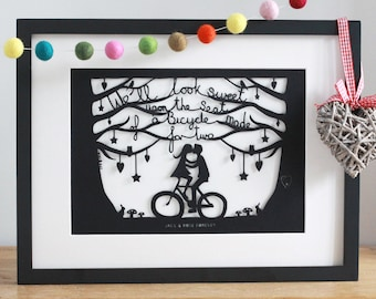 Personalised Romantic Bicycle Mounted Papercut