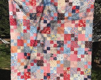 Patriotic quilt, red white and blue quilt, scrappy quilt, lap quilt, throw quilt, retro 30s quilt