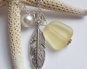 Lemon Yellow Sea Glass Necklace, Beach Glass Necklace, Sea Glass Jewelry, Beach Glass Jewelery, Feather Charm Necklace, Free Shipping in US