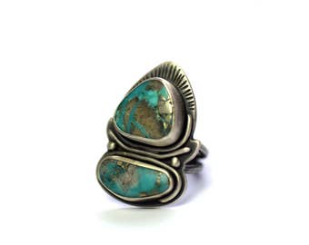 Sterling Silver and Turquoise Ring Size 6.5, Statement Ring, Bohemian Jewelry, Campitos Turquoise Jewelry, Oxidized Silver Ring