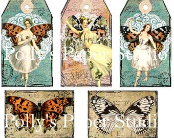 Ballerina Fairies Tags Digital Images printable download file for Cards and Tags and Crafts Polly's Paper Studio 8 Images