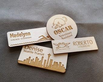 Magnetic wood name badges