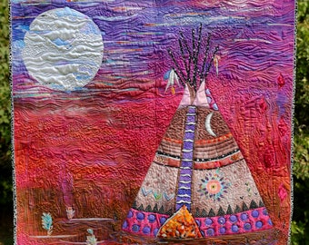 MarveLes BLACKFOOT MOON Indian tipi Native American Culture Wall Quilt Custom Quilted Hand Dyed Original Silver Blue Brown Pink Purple