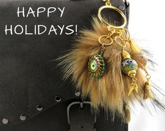 Handbag Charms, Handbag Accessories, Lampwork Charms, Statement Jewelry, Tribal Charms, Lampwork Beads, Ethnic Charms, Lampwork Jewelry