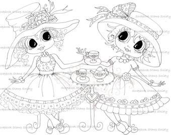 INSTANT DOWNLOAD Digital Digi Stamps Big Eye Big Head Dolls Digi   Besties IMG622 By Sherri Baldy