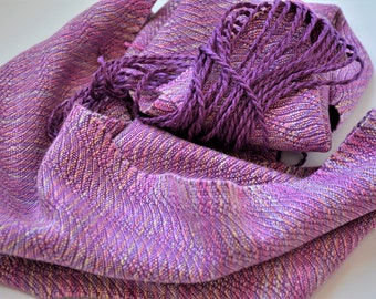 Handwoven Bright Pastels Scarf, Handpainted Textured Tencel Lavendar Pink Scarf