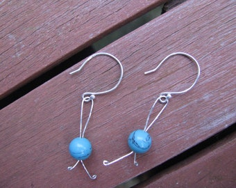 Sterling silver and turquoise bead drop earrings
