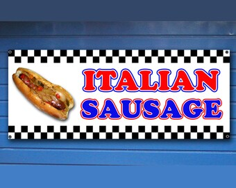 "ITALIAN SAUSAGE BANNER -  Shop Banner fair concession food Sign 24"" x 60"""